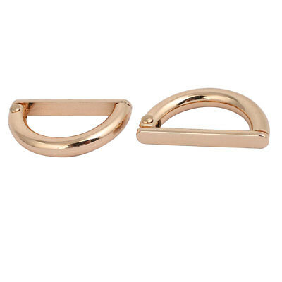 28mm Inner Width Zinc Alloy Half Round Shaped D Ring Buckle Gold Tone 2pcs
