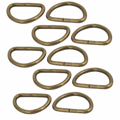 20mm Inner Width Iron Metal Non Welded Half Round D Ring Bronze Tone 10pcs