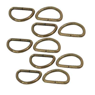 15mm Inner Width Iron Metal Non Welded Half Round D Ring Bronze Tone 10pcs
