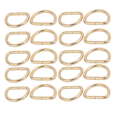 25mm Inner Width Zinc Alloy Half Round Non Welded D Ring Gold Tone 20pcs