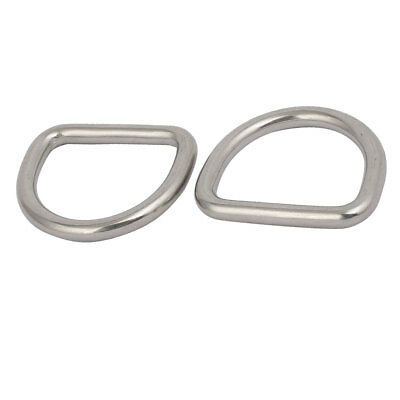25mmx22mmx4mm 304 Stainless Steel Thickening Welded D Ring Silver Tone 2pcs
