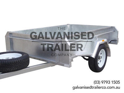 7x4 Single Axle Box Trailer Galvanised, Full Checker Plate & 410mm Deep Sides