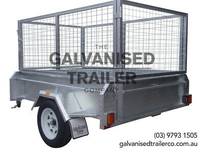 7x4 Single Axle Box Trailer Galvanised With 410mm Deep SIdes & 800mm Cage