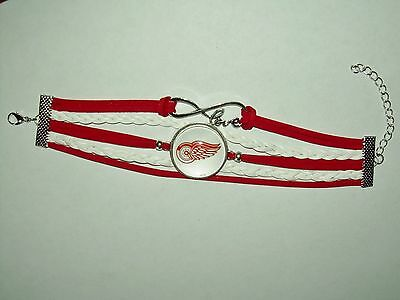 DETROIT RED WINGS HOCKEY bracelet fashion jewelry infinity charms leather NEW
