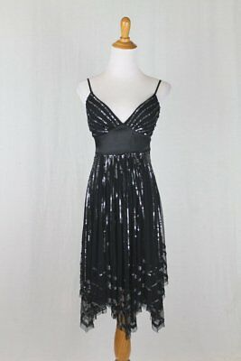 Adrianna Papell Evening 1920's 30's Art Deco Inspired Black sequined Dress 4