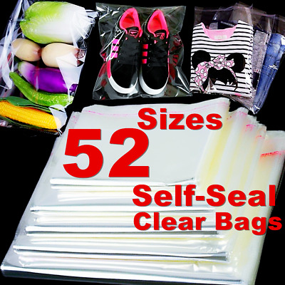 100 Clear Self Seal Storage Bags Travel Luggage Clothes Packing Home Organizer