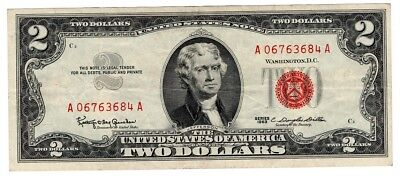 1963 $2 Dollar Bill Old Us Note Legal Tender Paper Money Currency