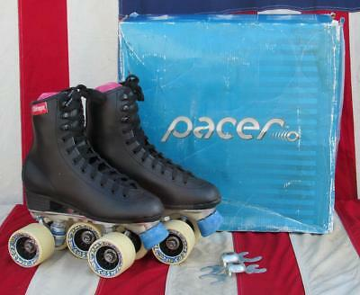 Vintage Chicago Pacer Roller Skates RC Sports Cosmic Wheels Sz.5 w/ Store Box