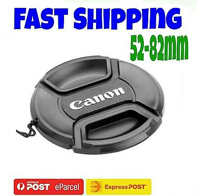 CANON LENS CAP 52,55,58,62,67,72,77,82 mm Camera Snap-on Len Cap Cover + Cord