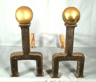 PAIR OF EARLY 20th CENTURY ARTS+CRAFTS MISSION BRASS+IRON ANDIRONS