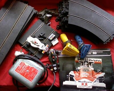 Scalextric model slot car race set with transformer, manual and cars Vintage old