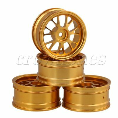 4pcs Gold Aluminum Alloy Y-shape Wheel Rims For RC1:10 On Road Car Upgrade Parts