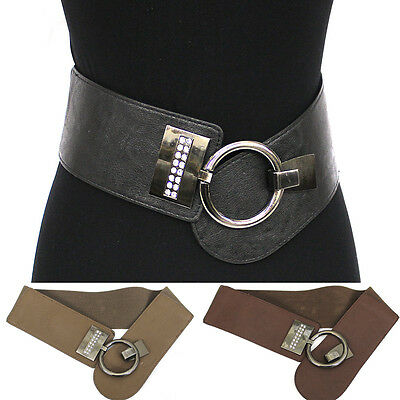 WOMEN Western Fashion ELASTIC Silver Circle Metal Hook WAIST WIDE BELT Stretch