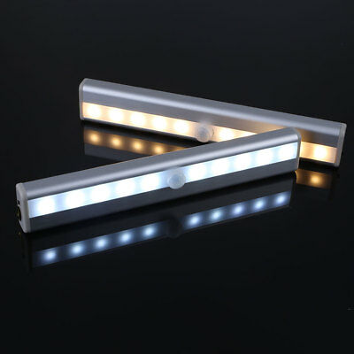 10 LED PIR Motion Sensor LED Night Light Battery Operated with Magnetic Strip UK