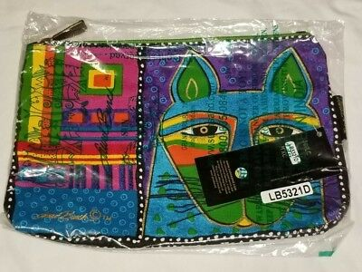 Laurel Burch - Whiskered Cat Blue Green Cosmetic Zipper Case - New & Sealed