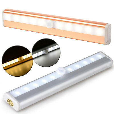 Motion Sensor 10LED Night Light Battery Operated for Cabinet with Magnetic Strip