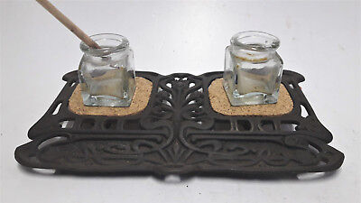 Antique Cast Iron Desktop Double Inkwell Stand Pen Rest Glass Bottle Collectable