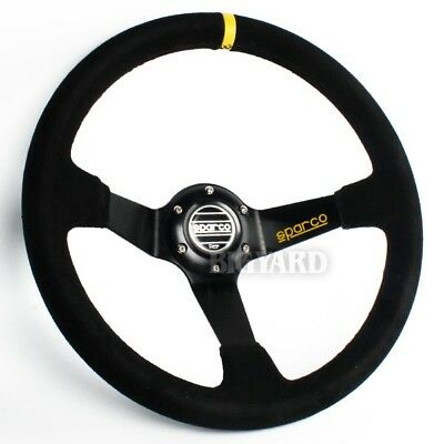 350mm Deep Dish Black Genuine Suede Leather Steering Wheel w/ SPARCO Horn Button