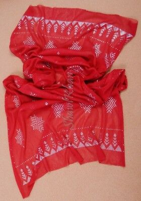 Outstanding Soft Egyptian Assiut Assuit Tulle Red Wide Shawl Wrap Veil HOT SALE