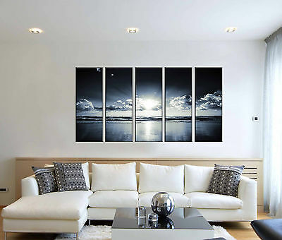 Black and white seascape canvas prints, sunset ocean print, seascape wall art