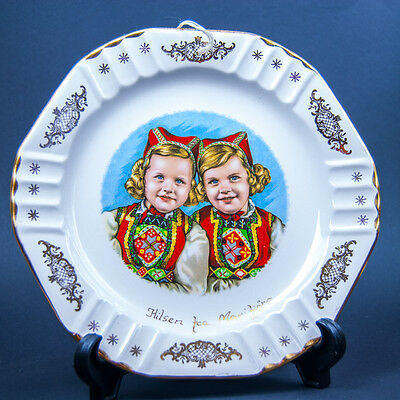 Vintage Figgjo Flint Norway Girls in Bunad National Costume Scandinavian Pottery