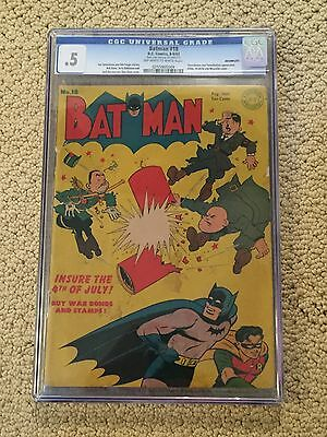 Batman 18 CGC Graded OW/White Pages- Hitler Cover.. Ju-Jitsu back page visible!!