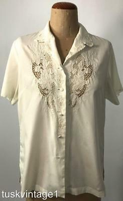 VINTAGE Ivory hand embroidered CUT LACE Chinese BLOUSE 38 8 10