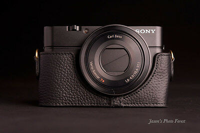 Handmade Real Leather half Camera Case Camera bag for SONY RX100 Black Color