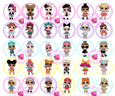30x  LOL Dolls EDIBLE circle cupcake cake toppers images  L.O.L. girls birthday