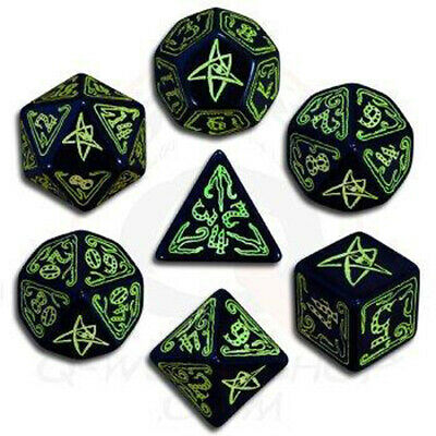 Call of Cthulhu Dice Black & green Dice Set (7)