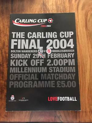 Bolton V Middlesbrough 2004 Carling Cup Final Programme Boro Free Postage Look