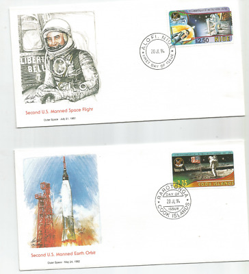 1994 PACIFIC ISLAND SPACE FDC COVERS x2