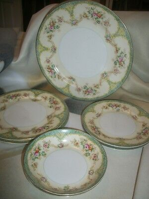 Meito China Cream & Floral Pattern Japan 2 Dinner Salad Bread Plates Berry Bowls