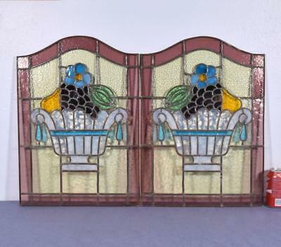 *Antique Pair of French Stained/Leaded Glass Panels with Vases and Fruit