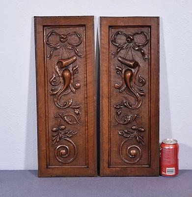 Pair of Louis XVI French Antique Woodcarving Panels in Walnut Wood
