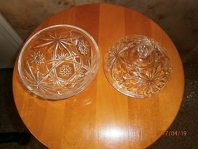Vintage EAPC Prescut Glass Anchor Hocking Small Star of David  Candy Dish W/ Lid