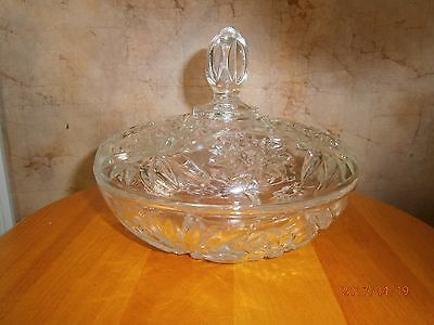 Vintage EAPC Prescut Glass Anchor Hocking Large Star of David  Candy Dish W/ Lid