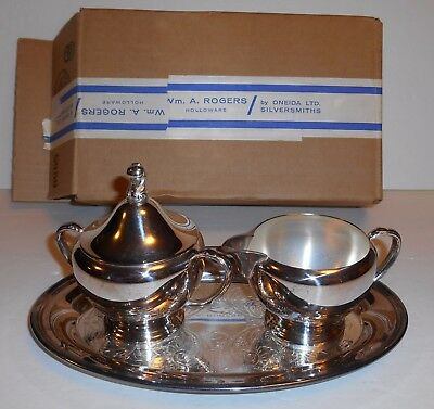 WM. A. Rogers Oneida 3 Piece Dessert Set Platter Cream & Sugar 1972 New Old Stoc