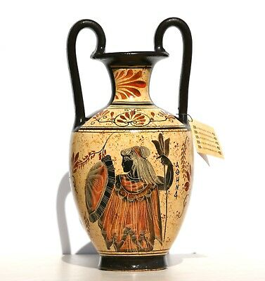 Greek Ceramic AMPHORA Jar Vase Pot Painting Goddess Athena God Zeus