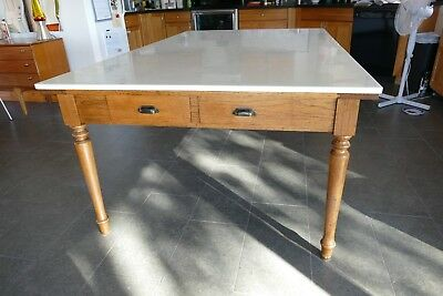 antique tiger oak marble slab dining table w/ 10 drawers