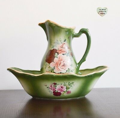 Rare 1930s Pitcher and Wash Bowl, Flora And Fauna Staffordshire England Pitcher