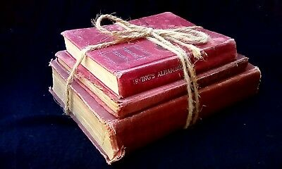 Lot Antique Books Old Red Decorative Farmhouse Vintage Very Distressed Bookstack
