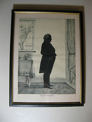 Daniel Webster Silhouette On Linen, Reproduction, Glass/Wood Framed, 9x12inch