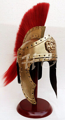 Medieval Greek Corinthian Brass Helmet Red Plume Viking Spartan Armour Helmet