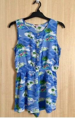 Girls Miss Evie Blue Tropical Palm Trees Print Playsuit 10 years