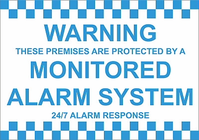 Warning Premises Protected By Monitored Alarm 24/7 Response - Sticker Or Foamex