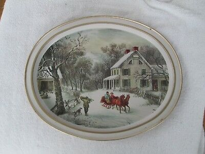 Vintage Oval Tin Tray with Currier & Ives The American Homestead Winter Scene