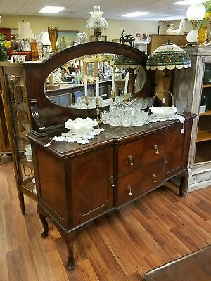 Antique Mahogany Buffet with Beveled Mirror,,,LOCAL PICKUP ONLY