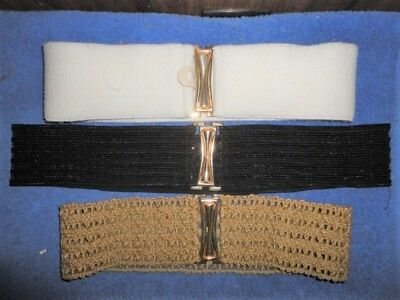 lot of 3 vintage stretch elastic belts - White, Black & Khaki