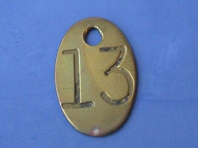 Vintage Brass Number Tag Farm Cattle  Double Sided Original  #13